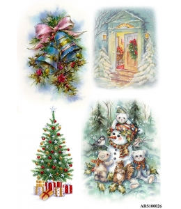 Рисовая бумага для декупажа Рождественские колокольчики, формат А5, Россия