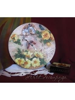 """Часы настенные круглые """"Розы"""", авторская работа"""