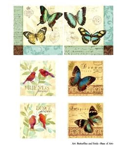 Декупажная карта А4 Butterflies and birds, Base of Art