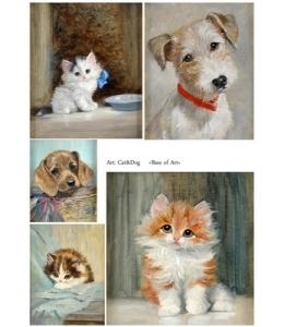 Декупажная карта А4 Cat & Dog, Base of Art