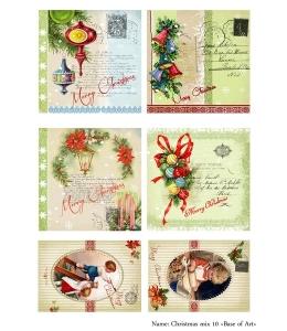 Декупажная карта А3 Christmas mix 10, Base of Art (Россия)