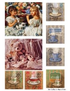 "Декупажная карта Base of Art, формат А4, ""Coffee 3"", девочки и кофе"