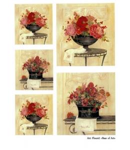 "Декупажная карта Base of Art, формат А3, ""Fleurs 2"", красные цветы"