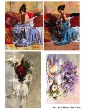 Декупажная карта А3 Lady Flowers, Base of Art (Россия)