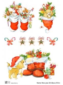 Декупажная карта Рождественские собаки, формат А3 , Base of Art