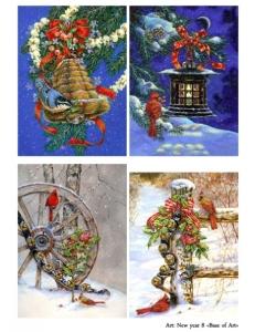 Декупажная карта А3 New year 8, Base of Art (Россия)