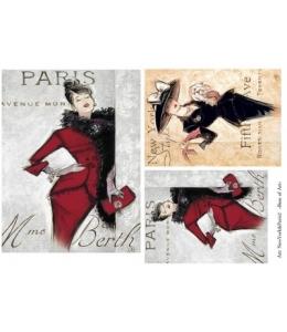 """Декупажная карта Base of Art, формат А4, """"New York - Paris 2"""""""