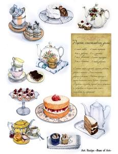 """Декупажная карта Base of Art, формат А4, """"Recipe"""", чай и пирожные"""