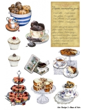 """Декупажная карта Base of Art, формат А4, """"Recipe 2"""", чай и сладости"""