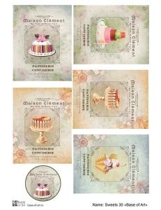 Декупажная карта А3 Sweets 30, Base of Art (Россия)