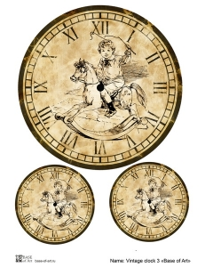 Декупажная карта А3 Vintage clock 3, Base of Art (Россия)