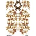 Рисовая бумага для декупажа Цветы и бабочки, А4, Бижу-Мастер, Россия