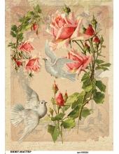 Рисовая бумага для декупажа Розы и голуби, А4, Россия