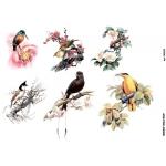 Рисовая бумага для декупажа Птицы на цветущих ветках, А4, Бижу-Мастер, Россия