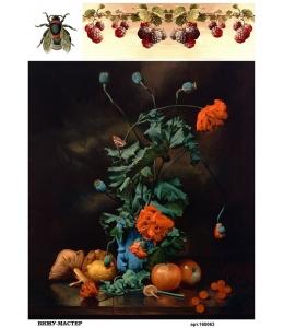 Рисовая бумага для декупажа 160063 Натюрморт  с маками, А4, Россия