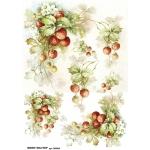 Рисовая бумага для декупажа Клубника, А4, Бижу-Мастер, Россия