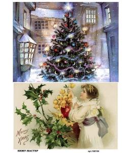 Рисовая бумага для декупажа Новогодняя ёлка и девочка, А4, Бижу-Мастер, Россия