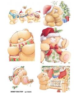 Рисовая бумага для декупажа 160203 Рождественские медвежата, А4, Россия