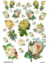 Рисовая бумага для декупажа Розы, А4, Россия