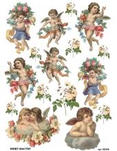 Рисовая бумага для декупажа Ангелы и розы, А4, Бижу-Мастер, Россия