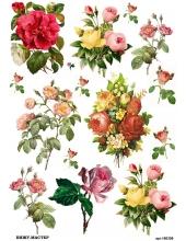 Рисовая бумага для декупажа Букеты с розами, А4, Россия