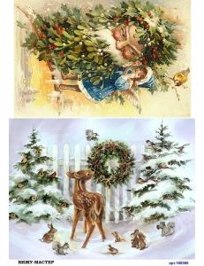 Рисовая бумага для декупажа 160365 Рождество, А4, Бижу-Мастер, Россия