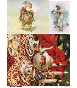 Рисовая бумага для декупажа 160367 Новогодний чай, А4, Россия