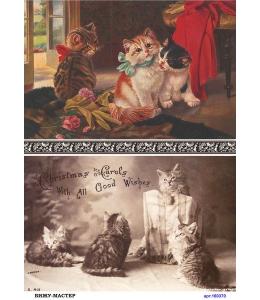 Рисовая бумага для декупажа 160370 Винтажные котята, А4, Россия