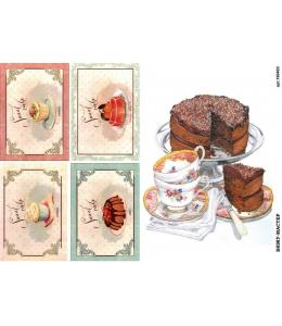 Рисовая бумага для декупажа 160403 Сладости, А4, Россия