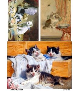 Рисовая бумага для декупажа 160414 Милые котята, А4, Россия