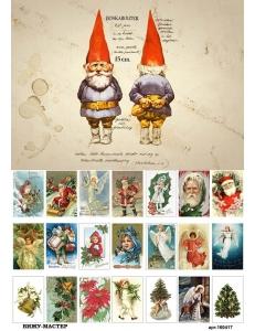Рисовая бумага для декупажа 160417 Рождественский гном, А4, Бижу-Мастер, Россия