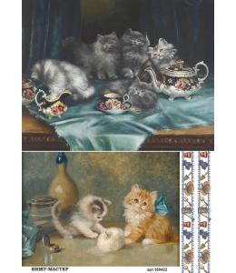 Рисовая бумага для декупажа 160422 Котята на кухне, А4, Россия