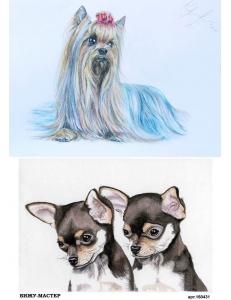 Рисовая бумага для декупажа Маленькие собачки, А4, Бижу-Мастер, Россия