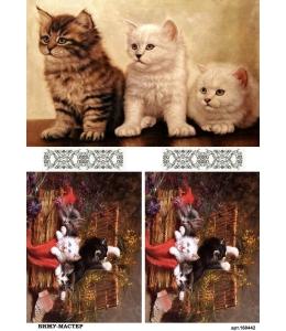 Рисовая бумага для декупажа 160442 Кошки, А4, Россия