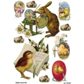 Рисовая бумага для декупажа 160469 Пасхальные цыплята и кролик, А4, Бижу-Мастер, Россия