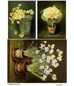 Рисовая бумага для декупажа 160489 Цветы в горшках, А4, Россия