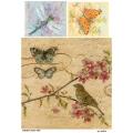 Рисовая бумага для декупажа 160530 Бабочки птичка стрекоза, А4, Бижу-Мастер, Россия