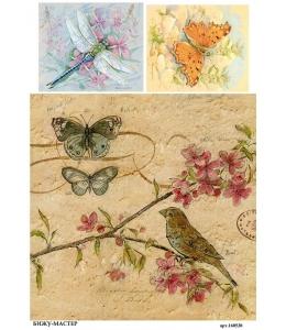 Рисовая бумага для декупажа 160530 Бабочки птичка стрекоза, А4, Россия