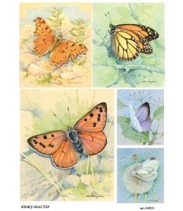 Рисовая бумага для декупажа 160531 Бабочки 1, А4, Россия