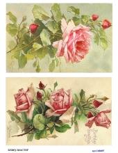 Рисовая бумага для декупажа Винтажные розы, А4, Россия