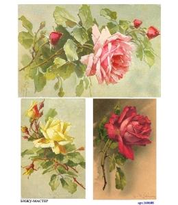Рисовая бумага для декупажа 160608 Розы винтаж, А4, Россия