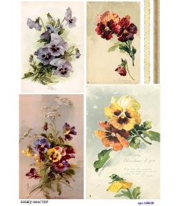 Рисовая бумага для декупажа 160638 Цветы анютины глазки, А4, Россия