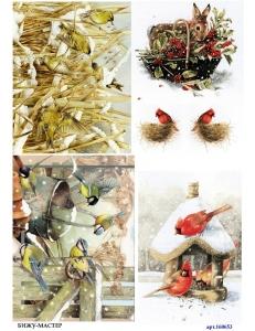 Рисовая бумага для декупажа 160653 Зимние птички, А4, Бижу-Мастер, Россия