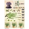 Рисовая бумага для декупажа Лаванда и бабочки, А4, Бижу-Мастер, Россия