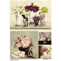 Рисовая бумага для декупажа Цветы в вазах, А4, Бижу-Мастер, Россия