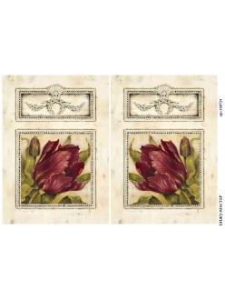 Рисовая бумага для декупажа Тюльпаны в рамке, А4, Россия