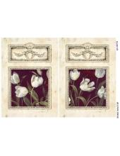 Рисовая бумага для декупажа Белые тюльпаны в рамочке, А4, Россия
