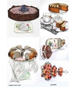 Рисовая бумага для декупажа Торты и пирожные, А4, Россия