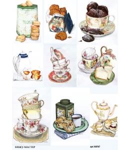 Рисовая бумага для декупажа Время чая, А4, Россия