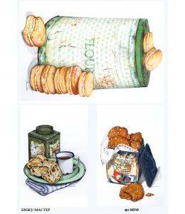 Рисовая бумага для декупажа Коробки с печеньем, А4, Россия